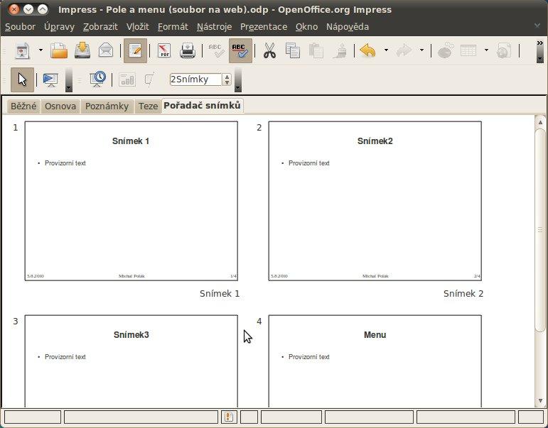 Příprava příkladu pro vytvoření menu (vytvoření čtveřice snímků)