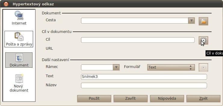 Vytvoření hypertextového odkazu v menu