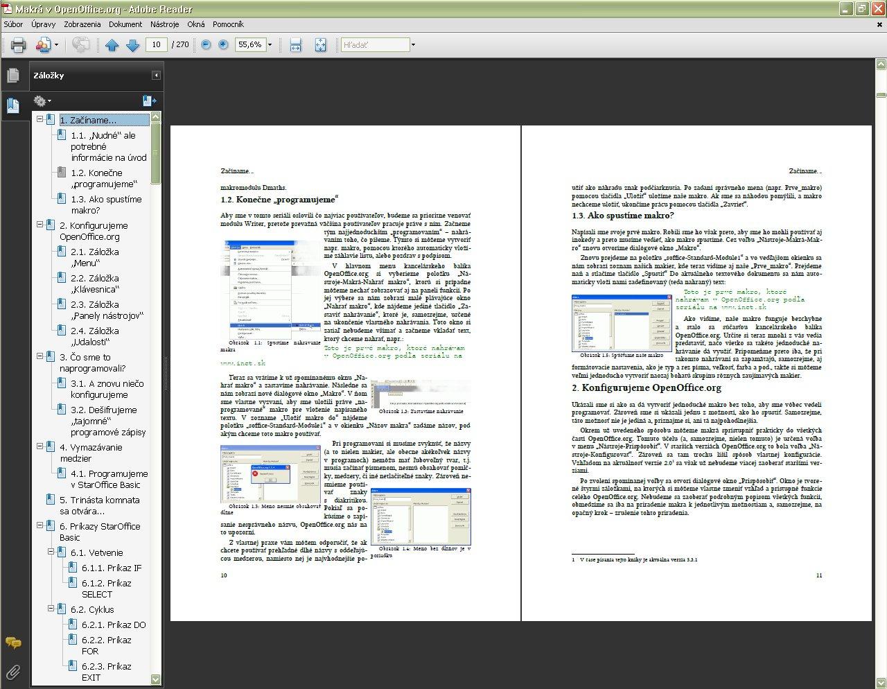 Kniha v prehliadači PDF súborov