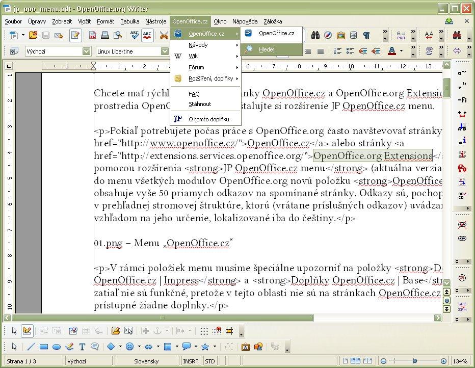 Hľadanie označeného textu na stránkach OpenOffice.cz