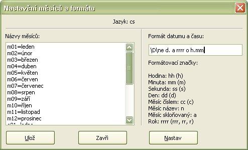 Príklad nastavenia používateľského formátu vkladaného dátumu a času pre češtinu
