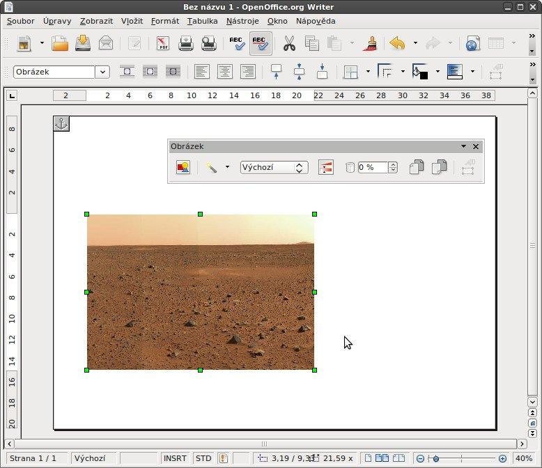 Vložený obrázek před úpravou pro použití jako pozadí