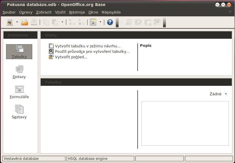 Otevření Base v linuxové distribuci Ubuntu (prázdná databáze)