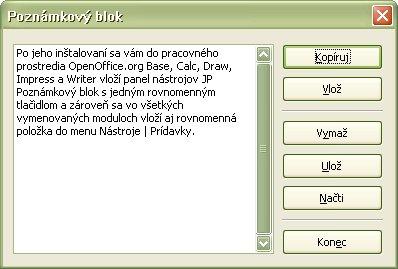 Poznámkový blok v moduli Writer