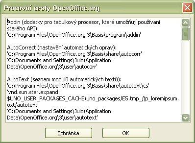 "Okno ""Pracovné cesty OpenOffice.org"" s vypísanými pracovnými cestami OpenOffice.org"