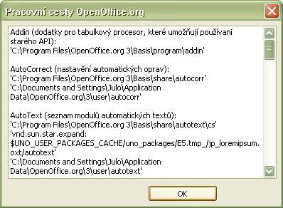 """Okno """"Pracovné cesty OpenOffice.org"""" po skopírovaní údajov do schránky"""