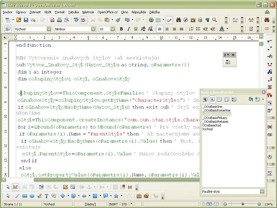 Ukážka farebného zvýraznenia programového kódu