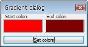 Dialogové okno pro výběr počáteční a koncové barvy gradientu