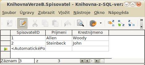 Cvičná data pro tabulku Spisovatel