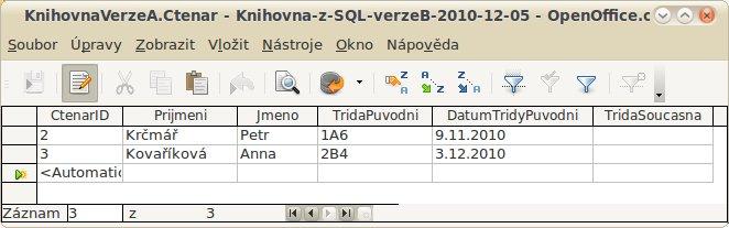 "Data pro tabulku Ctenar, verze ""A"""