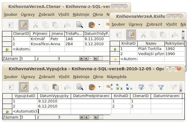 """Tabulka Vypujcka s dalšími po doplnění hodnot cizích klíčů, verze """"A"""""""