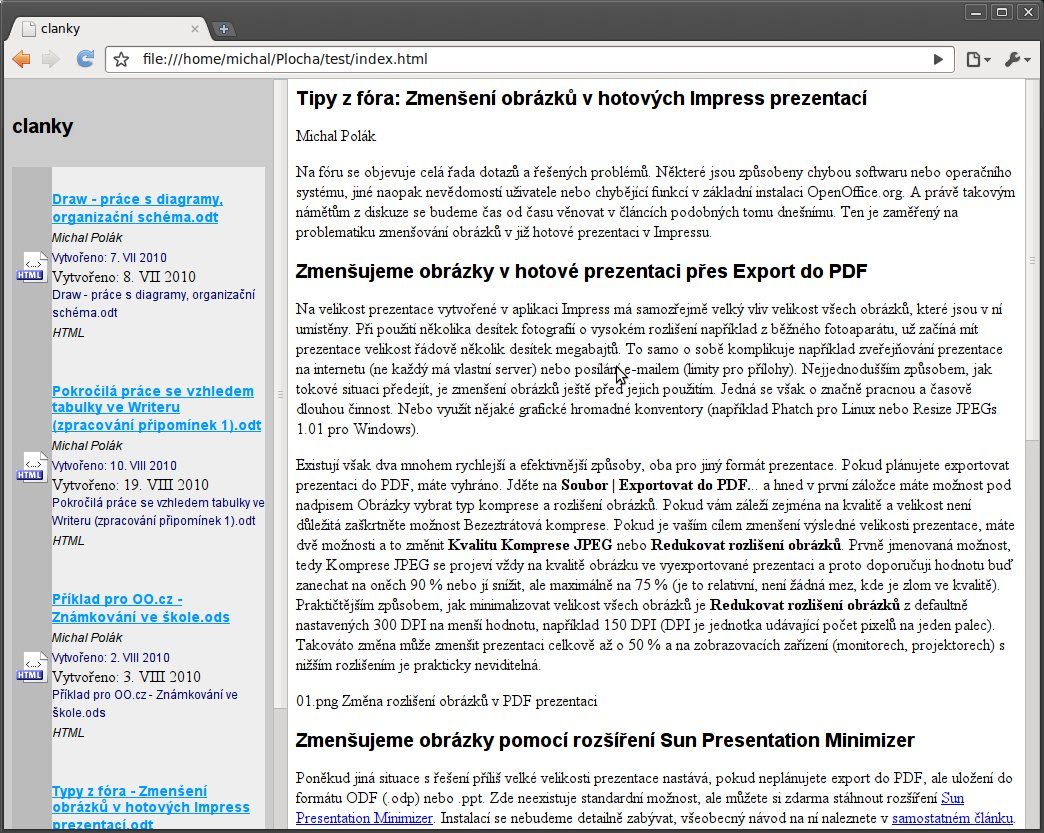 Výsledek v internetovém prohlížeči Chromium