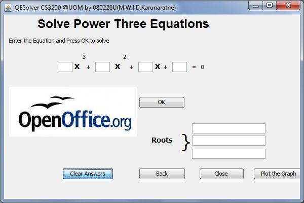 Okno pro řešení rovnice třetího stupně