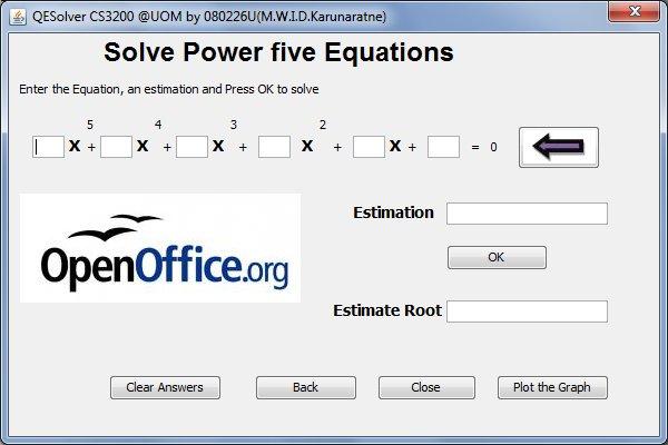V tomto okně řešíme rovnice až pátého stupně (samozřejmě je využitelné i pro rovnice nižších řádů, na patřičná místa je pak ale