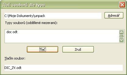 Vlastná tlač súborov na defaultnú tlačiareň