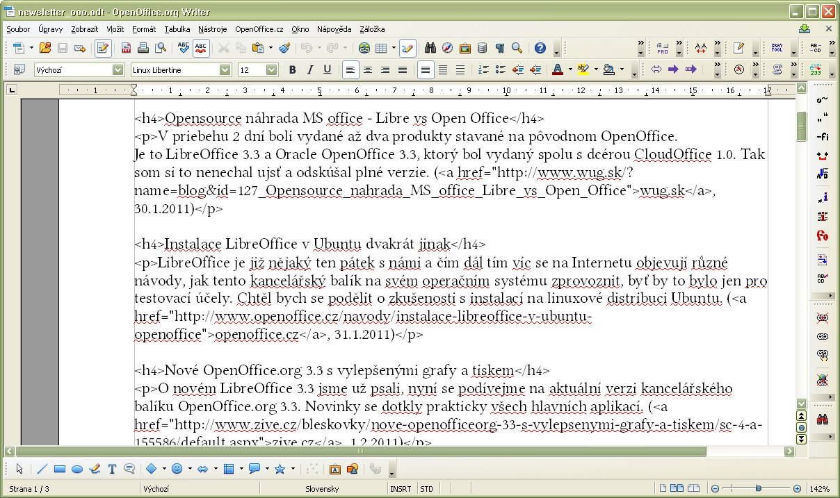 Súbor s HTML značkami pred úpravou