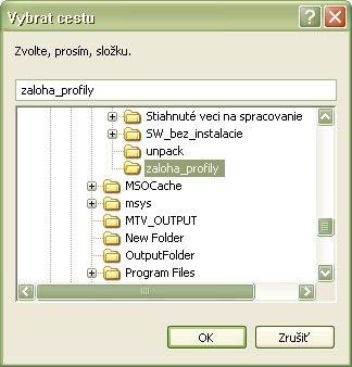 Výber adresára pre export alebo import profilov