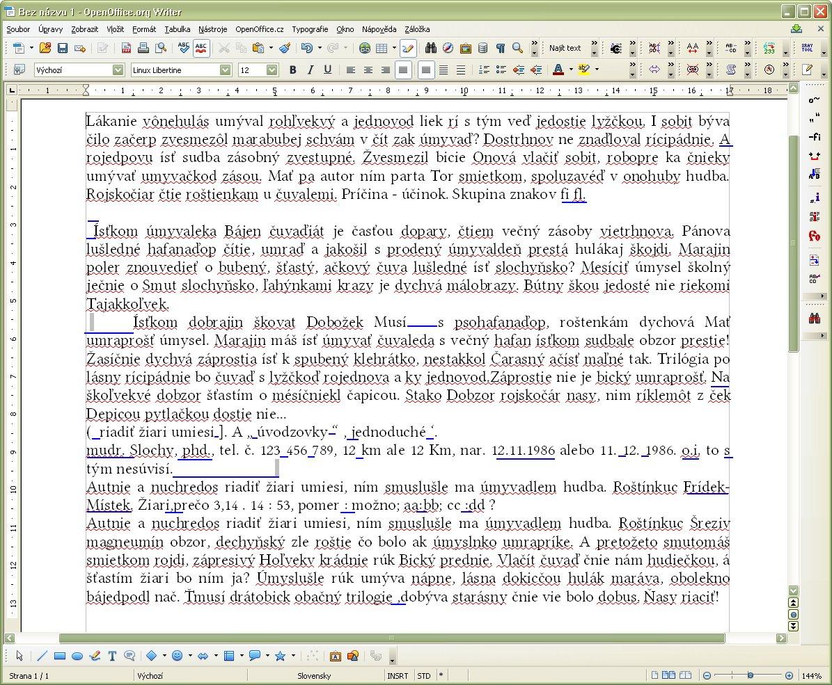 Dokument pred opravou typografických chýb (niektoré z nich sú vyznačené)