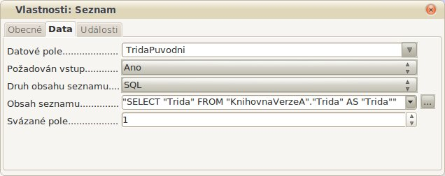 Obrázek 5: Okno Vlastnosti, tentokrát už s vygenerovaným dotazem SQL
