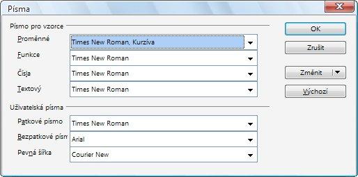 Dialogové okno Písma s přehledem použitých fontů pro jednotlivé kategorie znaků