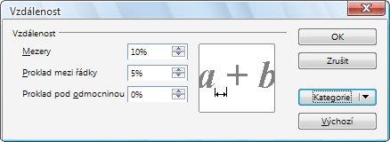 Nastavování parametrů prokladu pro různé skupiny znaků