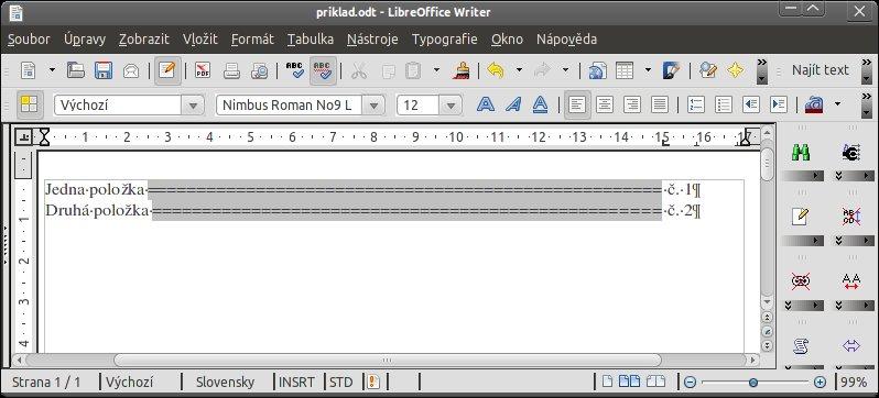 Příklad použití vodícího znaku při tvorbě seznamů v Linuxu