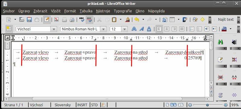 Použití tabulátorů ve Writeru