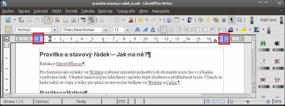 Okraj stránky, do které lze psát, můžete změnit na pravítku