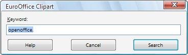 Vyhledávací dialog pluginu Online Clipart