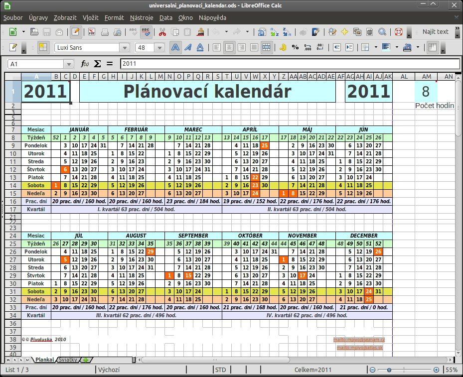Plánovací kalendář na více roků