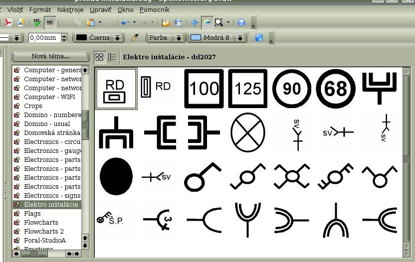 Príklad galérie s elektroinštalačnými objektami
