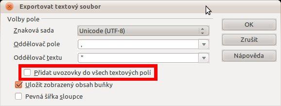 """Dialog """"Exportovat textový soubor"""" u formátu CSV, 3.4"""