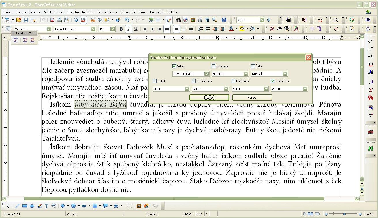 Nastavenie parametrov označeného textu