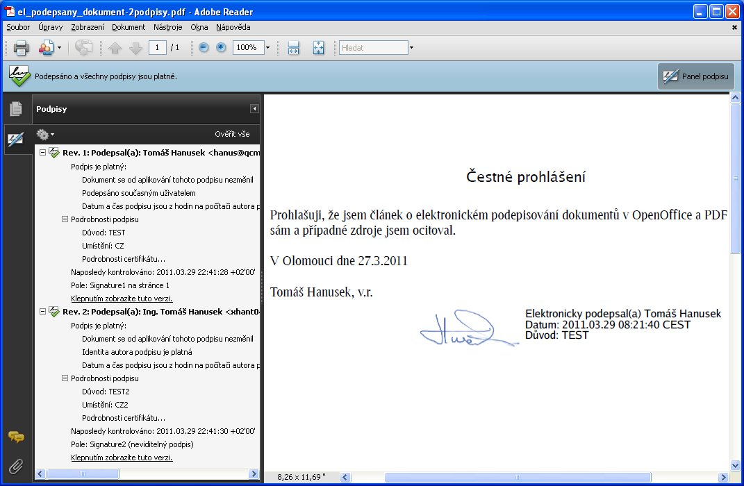Potvrzení platnosti elektronického podpisu u PDF v Adobe Readeru, Windows