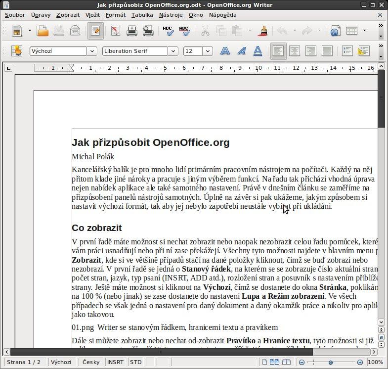Writer se stavovým řádkem, hranicemi textu a pravítkem