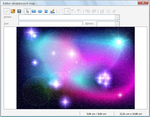 Otevřené okno Editoru obrázkových map s vloženým obrázkem