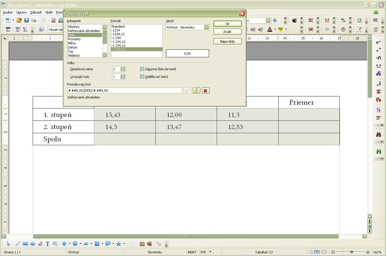 Nastavenie formátu čísiel v textovej tabuľke