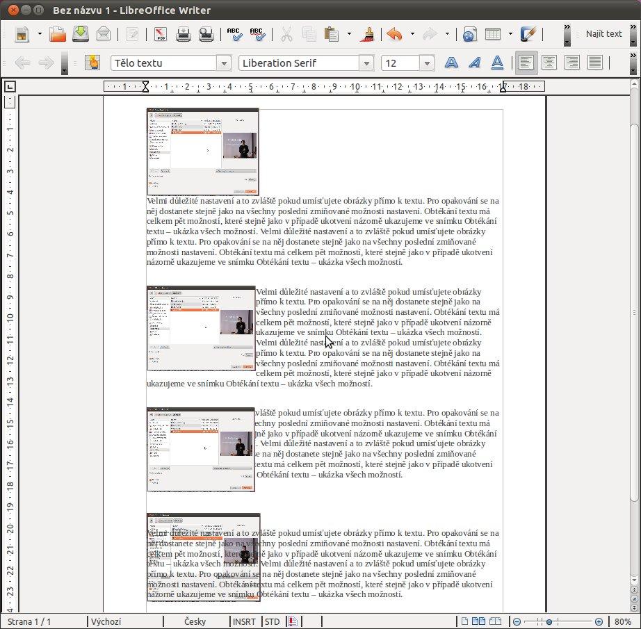 Obtékání textu – ukázka, Bez obtékání, Obtékání stránky, Přes text, Na pozadí