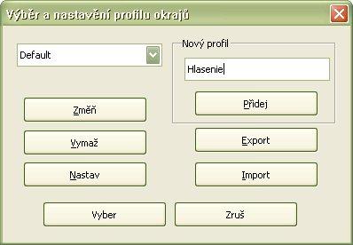 Pridávanie nového profilu do zoznamu