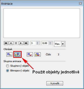 Práci si lze ulehčit, pokud označíme více objektů a stiskneme toto tlačítko