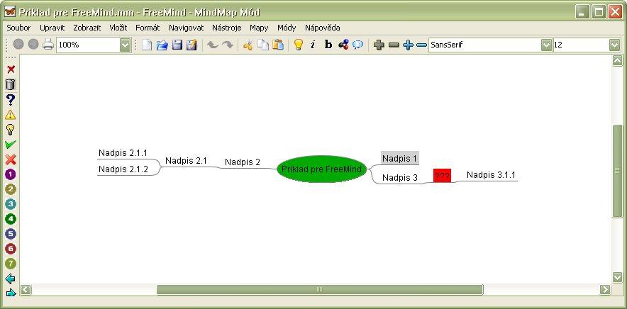Exportovaná osnova v aplikácii FreeMind