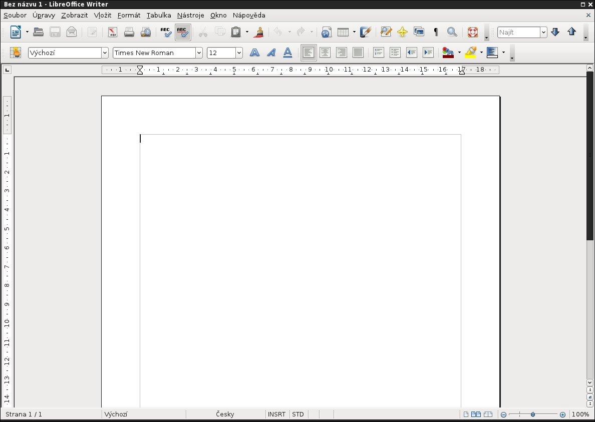 Takto vypadá LibreOffice Writer 3.3.3 ve výchozí konfiguraci