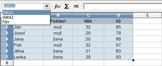 Seznam nastavených datových oblastí