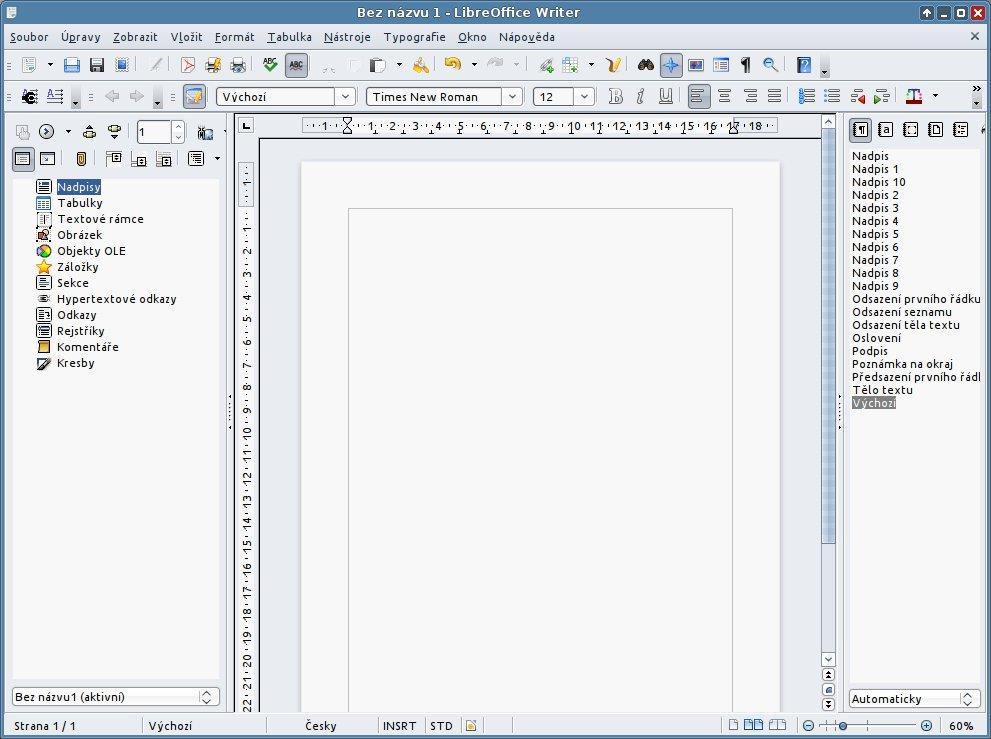 LibreOffice Writer v Xubuntu 11.10
