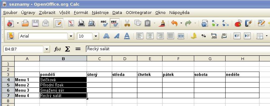 Vytvoření seznamu z označených buněk