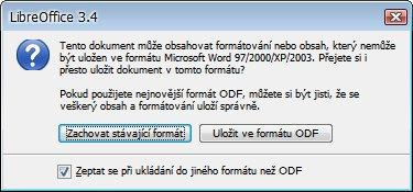 Byl přepracován vzhled okna varujícího při ukládání do jiného než nativního formátu. Porovnejte verzi pro LibreOffice 3.4…