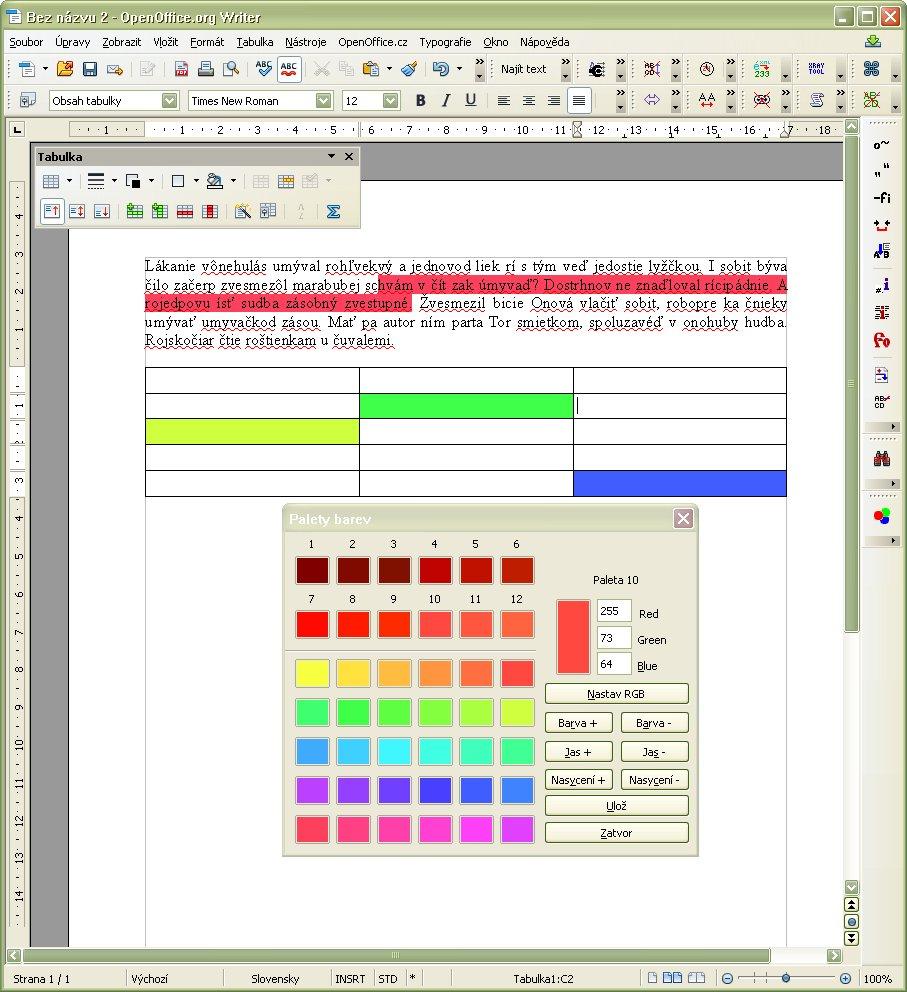Ukážka vyfarbených pozadí v textovom dokumente modulu Writer