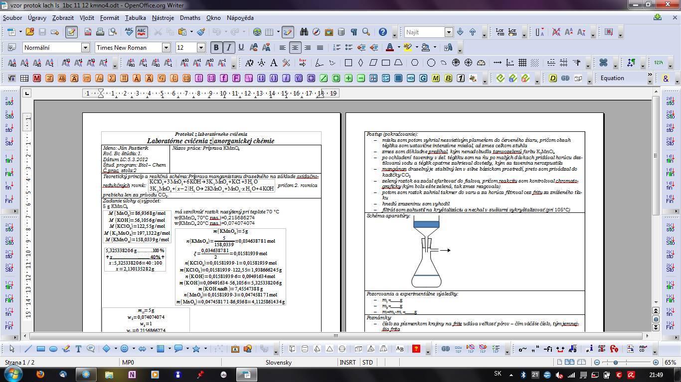 OpenOffice.org Writer - laboratorní protokol z chemie