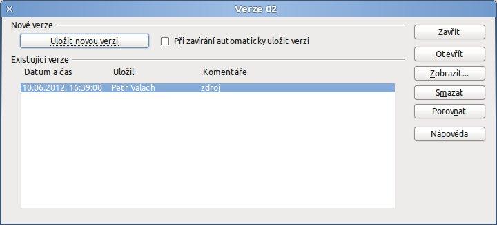 Dialogové okno pro ukládání a správu verzí