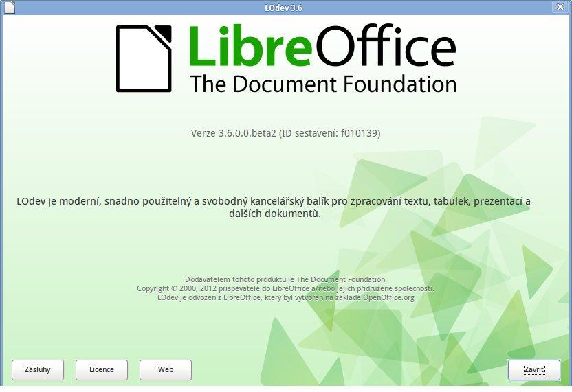 A nakonec – upravené bylo též okno O LibreOffice